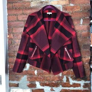 Parker Wool Blend Open Front Plaid Jacket M